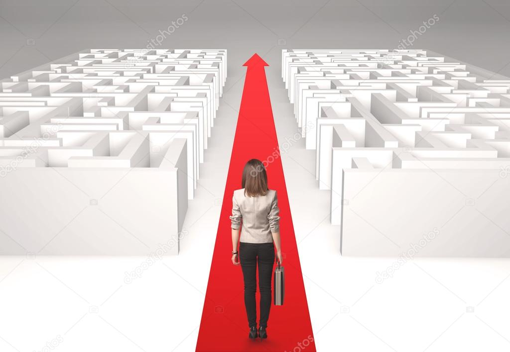 Businesswoman in labyrinth