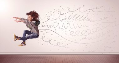 Pretty woman jumping with hand drawn lines and arrows come out