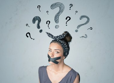 Young woman with glued mouth and question mark symbols