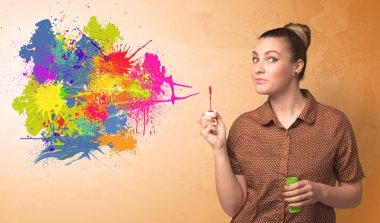 Cute girl blowing bubble spalsh graffiti into wall stock vector