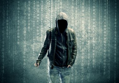 Angry mysterious hacker with numbers