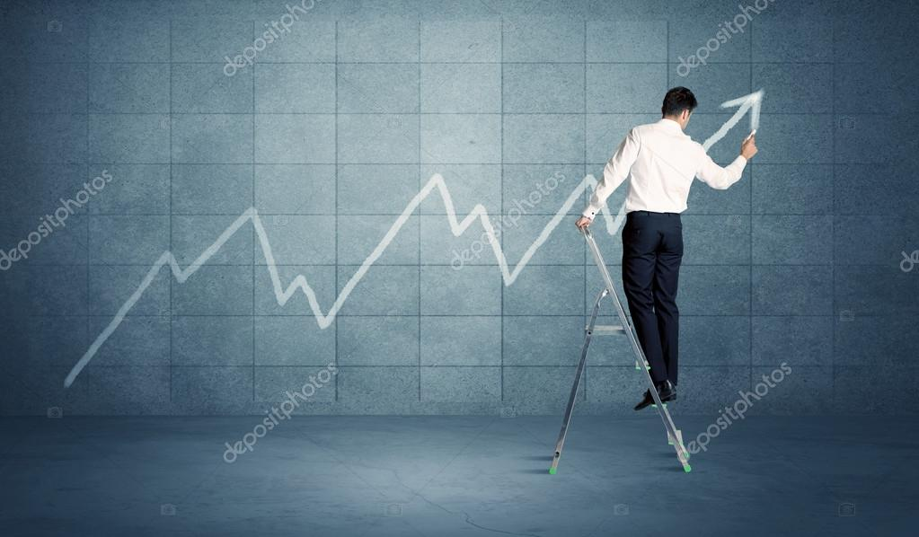 Man drawing line from ladder