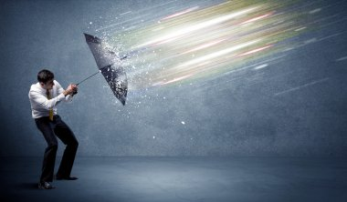 Business man defending light beams with umbrella concept on background stock vector