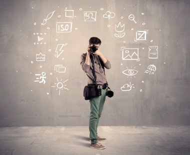 Photographer learning to use camera