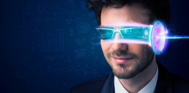 Man from future with high tech smartphone glasses