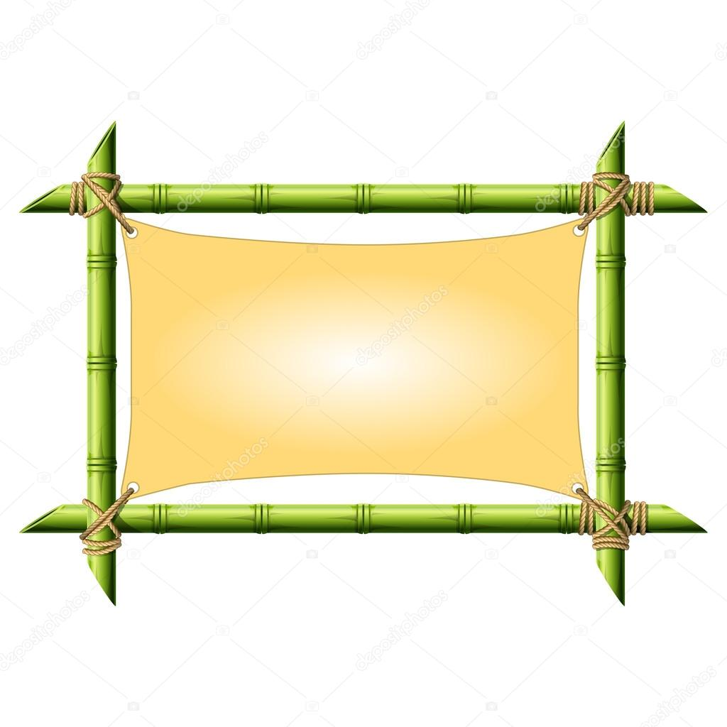 Bamboo frame with stretched canvas isolated on white — Stock Vector ...