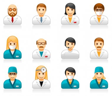 Medical staff avatars - user icons of doctors (physicians) and nurses