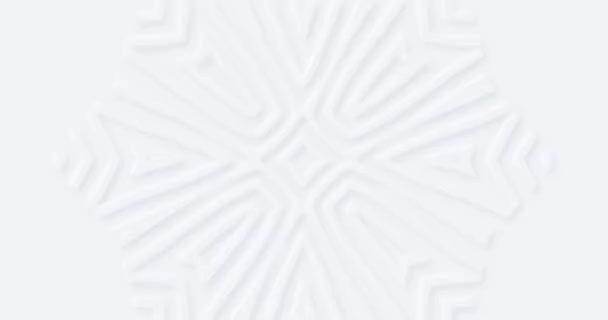 4k abstraktní bílé geometrické pozadí. Lehké květinové slepé bezešvé smyčky BG. Moderní letní prázdný šedý prapor. Vločková ozdoba. Vánoční dynamický prapor. Pevný měkký stín. Neumorfismus 3D styl