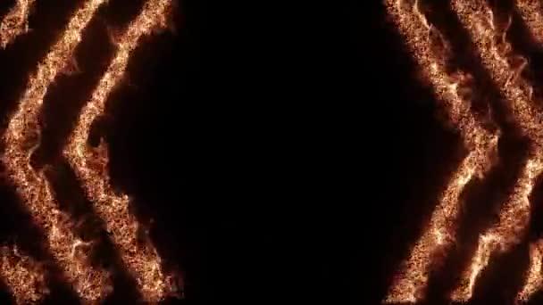Heißes Angebot. Brennender abstrakter, nahtloser Sechseck-animierter Rahmen auf schwarzem Hintergrund. Dynamische feuerwabenförmige Linien grenzen an Animationen. Textbox-Vorlage Grillparty-Menü. Leuchtende realistische Pfeile