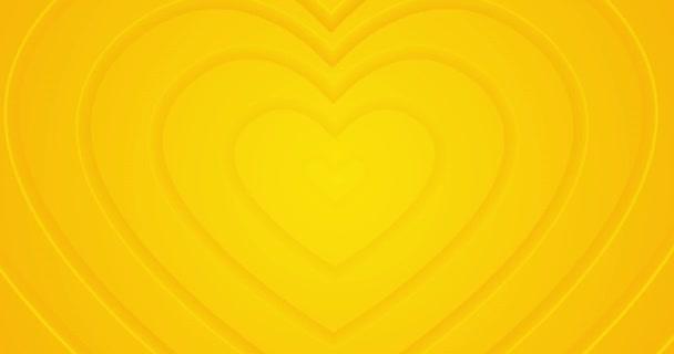 Világos napsütéses sárga szívek mozognak a központból. 4k zökkenőmentes hurkos animált háttér. Boldog Valentin-napot! Romantikus minimális 3D alagút. Animáció rendezvény, szerelmi történetek, szövegdoboz, üres keret