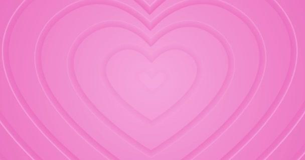 Világos forró rózsaszín szívek mozognak a központból. 4k zökkenőmentes hurkos animált háttér. Boldog Valentin-napot! Romantikus minimális 3D alagút. Animáció rendezvény, szerelmi történetek, szövegdoboz, üres ajándékkeret