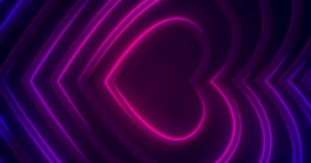 3d dinamikus rózsaszín lila neon izzó szív alakú vonalak fekete háttér. Modern Boldog Valentin-napot digitális animációs kártya. Absztrakt színes futurisztikus folyosó. Szerelem végtelen alagút. Lézershow