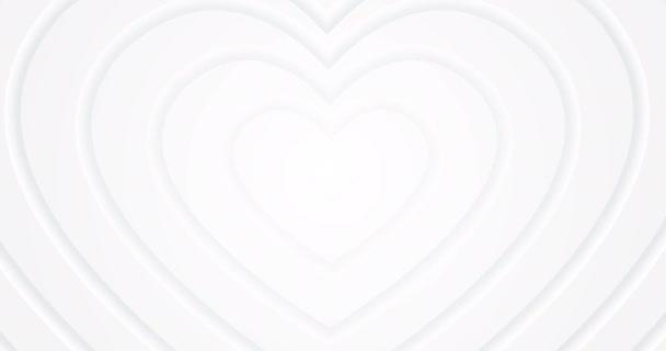 Fehér szív mozog a központból lágy 3D árnyék. Tiszta szeretet. Animált zökkenőmentes hurok háttér. Boldog Valentin napot! Ajándék digitális kártya. Aranyos gyönyörű tapéta. Anyák napja. Boldog szülinapot!