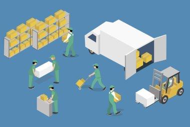 Isometric Vector Illustration warehouse equipment icon set