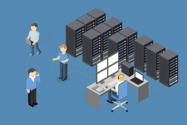 Isometric Vector Illustration diagnostic test in a server computer room. Server test in room. Servers being tested in room. Technology communication