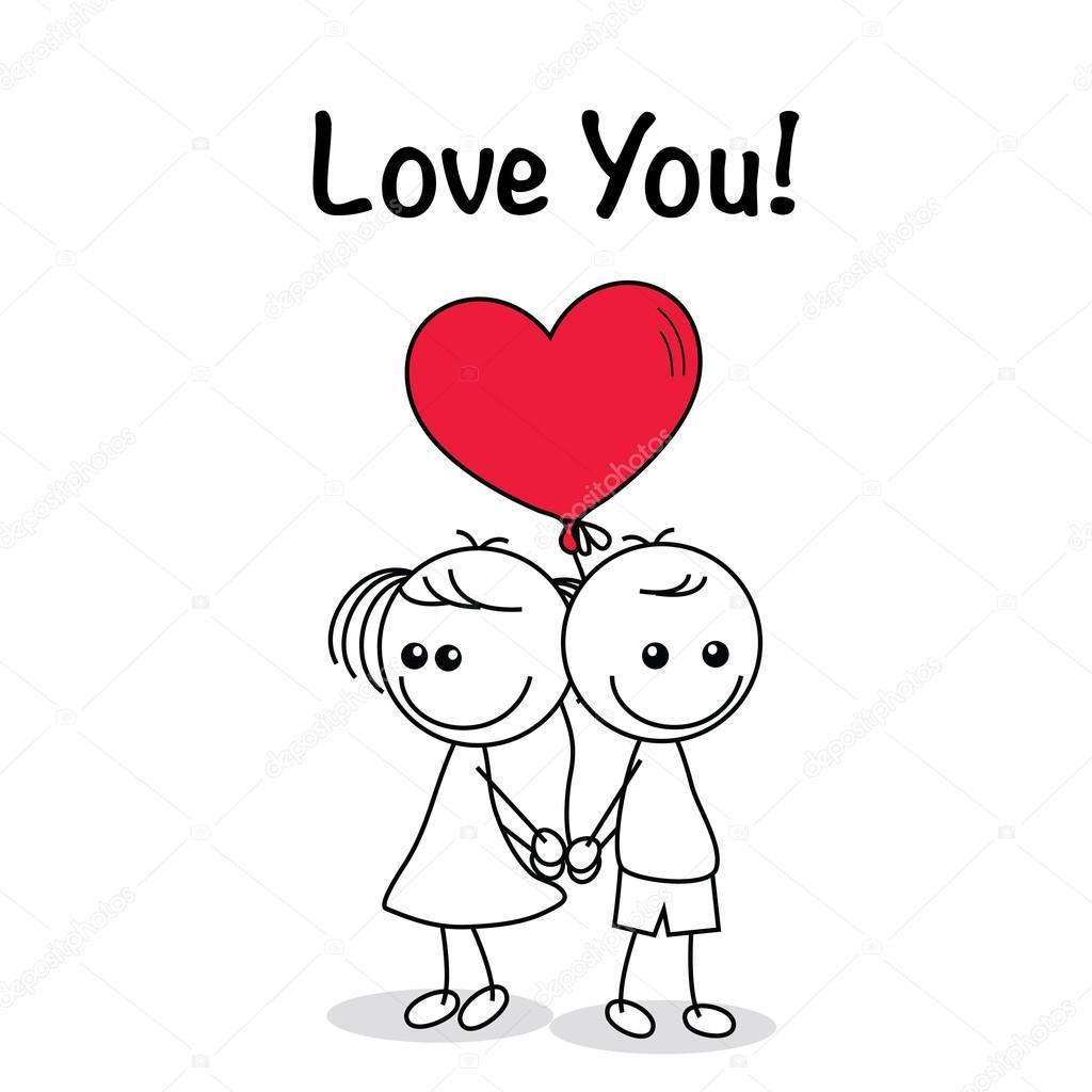 sistema de la colección de doodle linda pareja con corazones ...