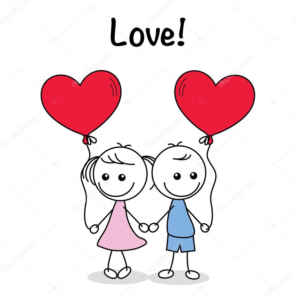 Collection Set Of Cute Couple Doodle With Hearts Stock Vector