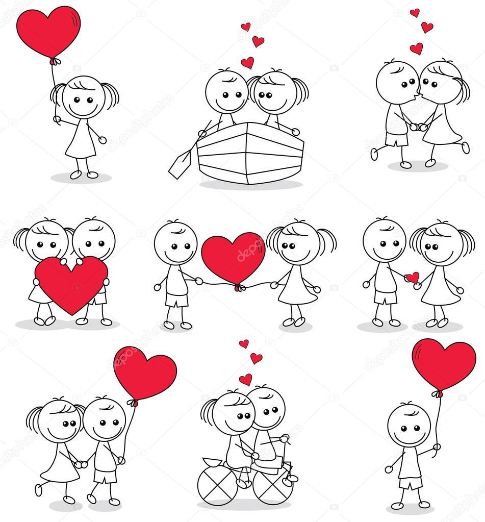 心でかわいいカップル落書きのコレクション セット — ストックベクター