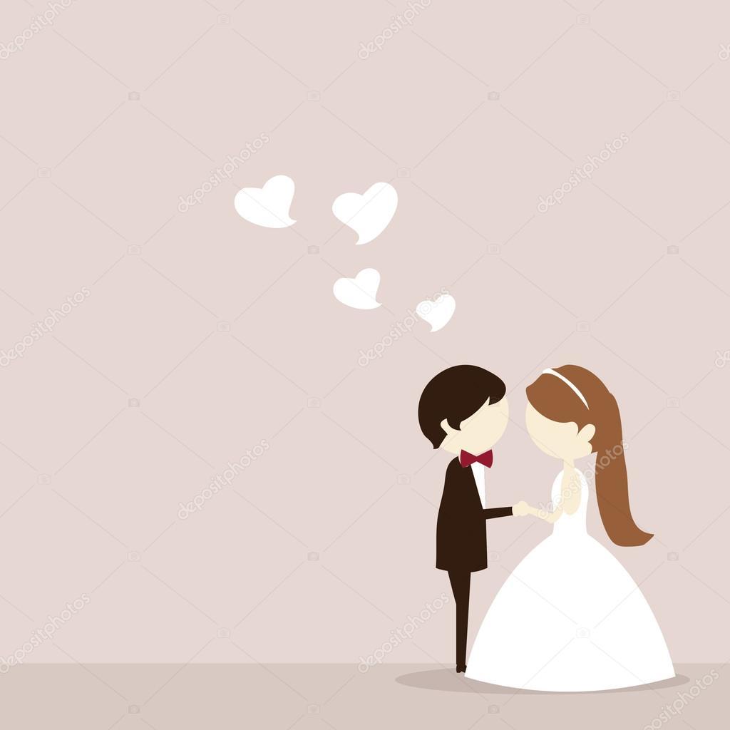 Wedding Altar Cartoon: Dibujos Animados De Novios — Vector