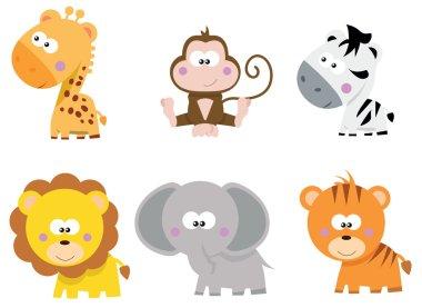 collection of cute cartoon little Safari jungle animals