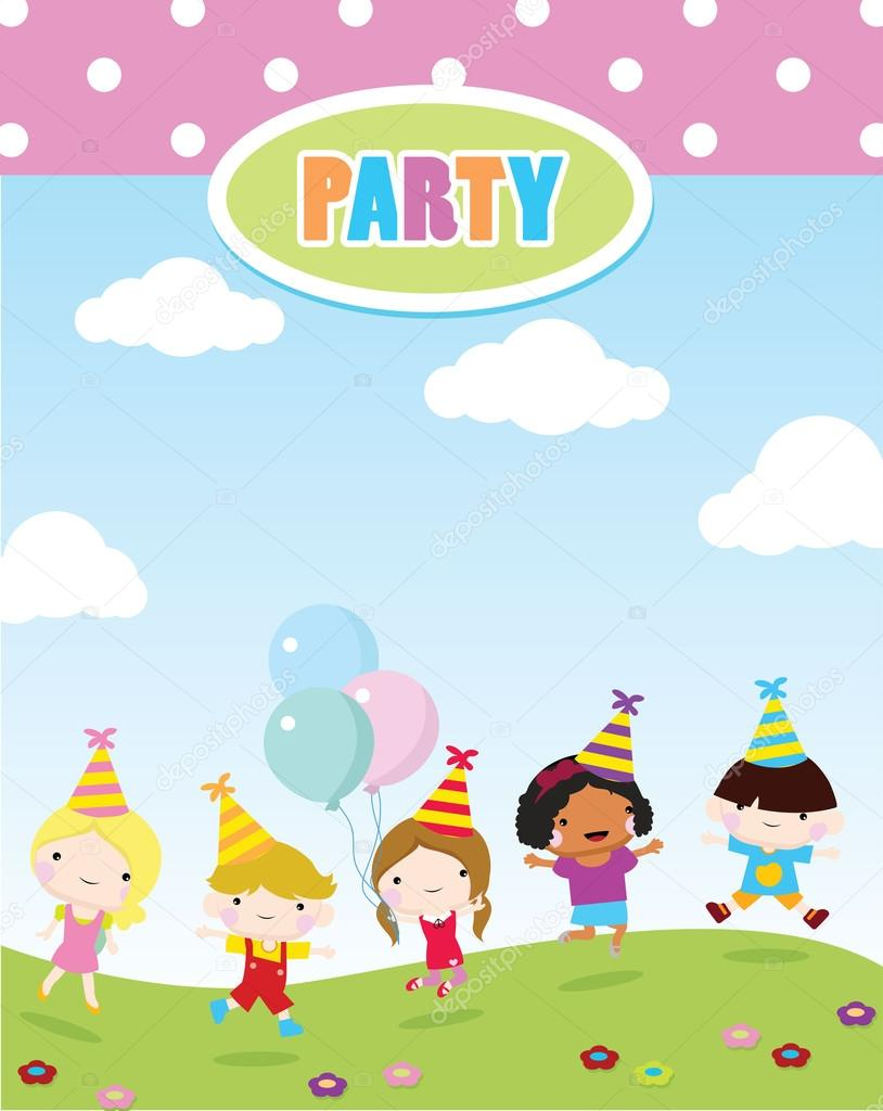 children party invitation — Stock Vector © glossygirl21 #95879068