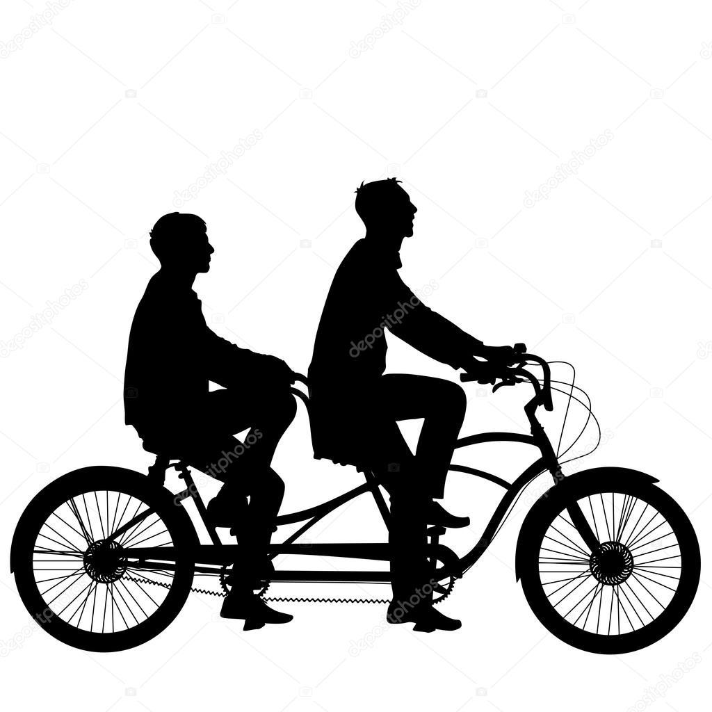 Sagoma Di Due Atleti Sulla Bicicletta In Tandem Vettoriali Stock