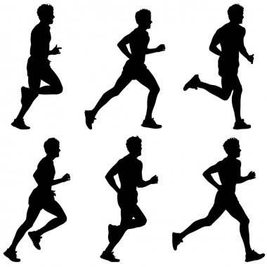 Set of silhouettes. Runners on sprint, men.