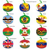 Photo Set pumpkins for Halloween as a flags of the world. Vector illus