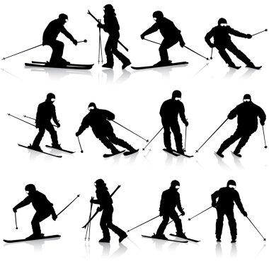 Mountain skier  man speeding down slope. Vector sport silhouette
