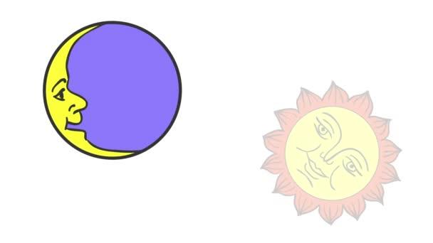 Měsíc a slunce kreslený, izolovaných na bílém pozadí. 2D animace