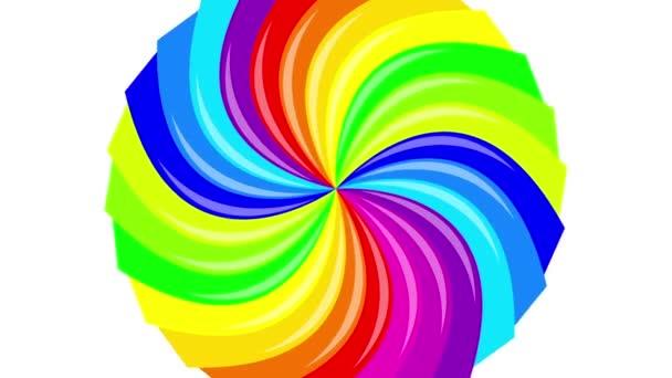 Barevné pozadí rainbow že Rotující spirálu. 2D animace