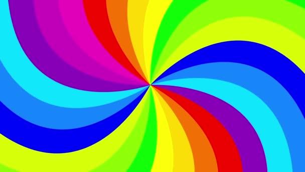 Barevné pozadí rainbow že Rotující spirálu. animace