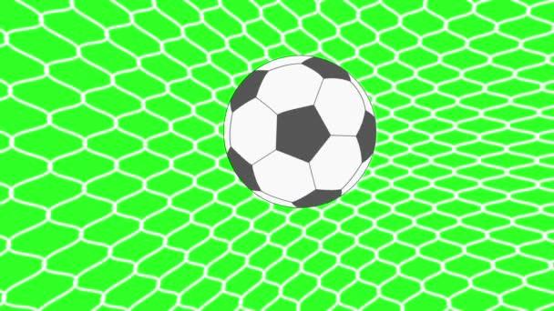 Fußball Ball im Tor. Green-Screen-Hintergrund. Animation
