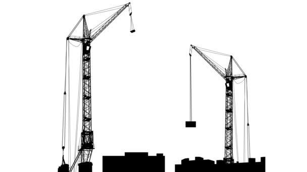 Siluety dvou jeřábů, pracující na stavbě. Bílé pozadí. animace.
