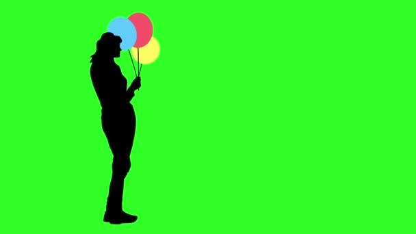Schwarze Silhouette des Mädchens mit drei farbigen Ballons auf einem green-Screen-Hintergrund. Animation