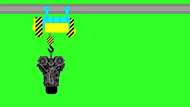 Dispositivo per il sollevamento di una riparazione di auto. Sfondo verde. animazione