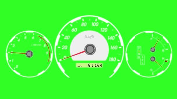 Sebességmérő sport autó, start gyorsítás és a fékezés. Zöld képernyő háttér. animáció