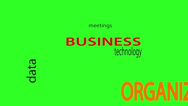 Business related words text animation. Green screen background.  animation.