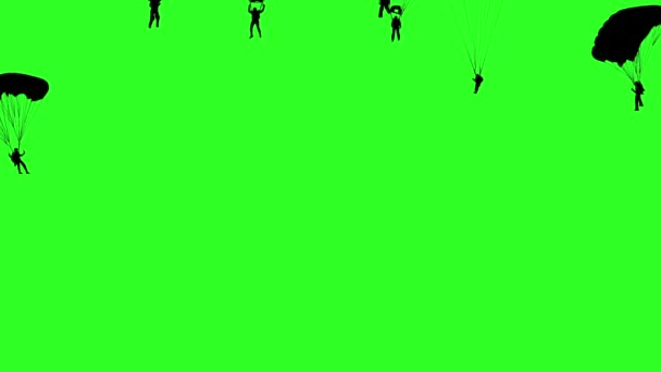 Set skydiver, silhouettes parachuting. Green screen background.  animation.