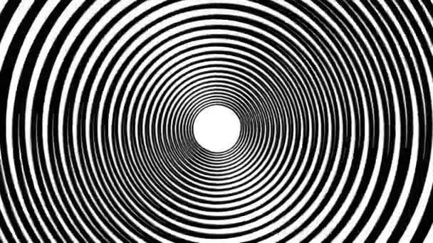 Spirála hypnotické animace. Černá a bílá opakování. animace