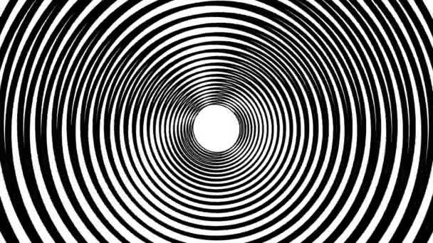 Spiralhypnotische Animation. Schwarz-Weiß-Looping. Animation.