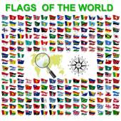Fotografie Set of Flags of world sovereign states. Vector illustration.