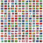 Fotografie Flags of the world and  map on white background. Vector illustra