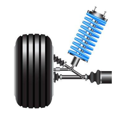 car suspension, frontal view. Vector Illustration