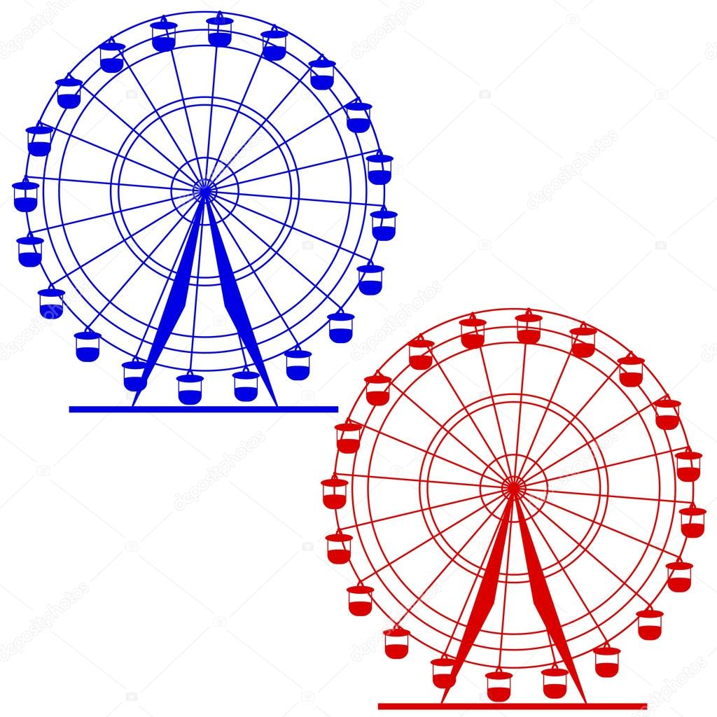 silueta atraktsion colorida rueda de la fortuna. ilustración ...