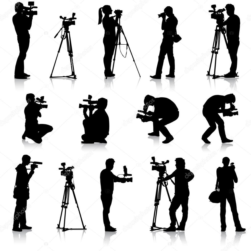 ビデオカメラで撮影技師。白い背...