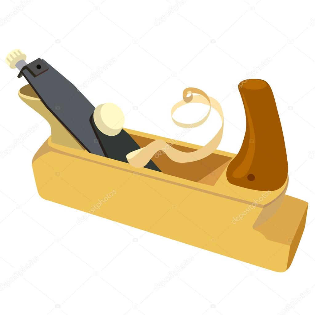 Wooden plane, boards and a shaving on a white background. Vector