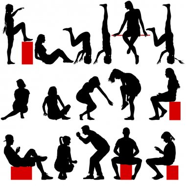 Black silhouettes of men and women in a pose sitting on a white