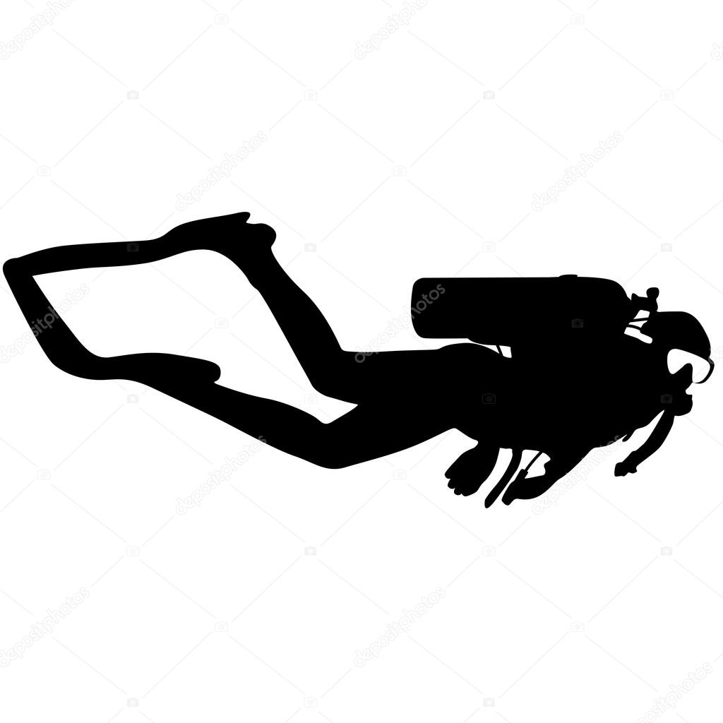 Black silhouette scuba divers. illustration.