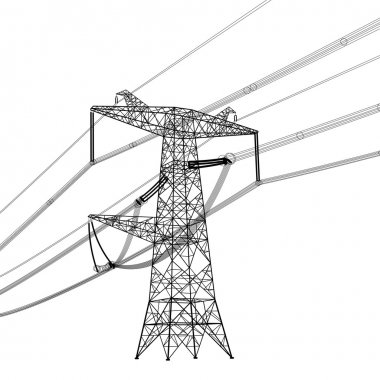 Silhouette of high voltage power lines. Vector  illustration